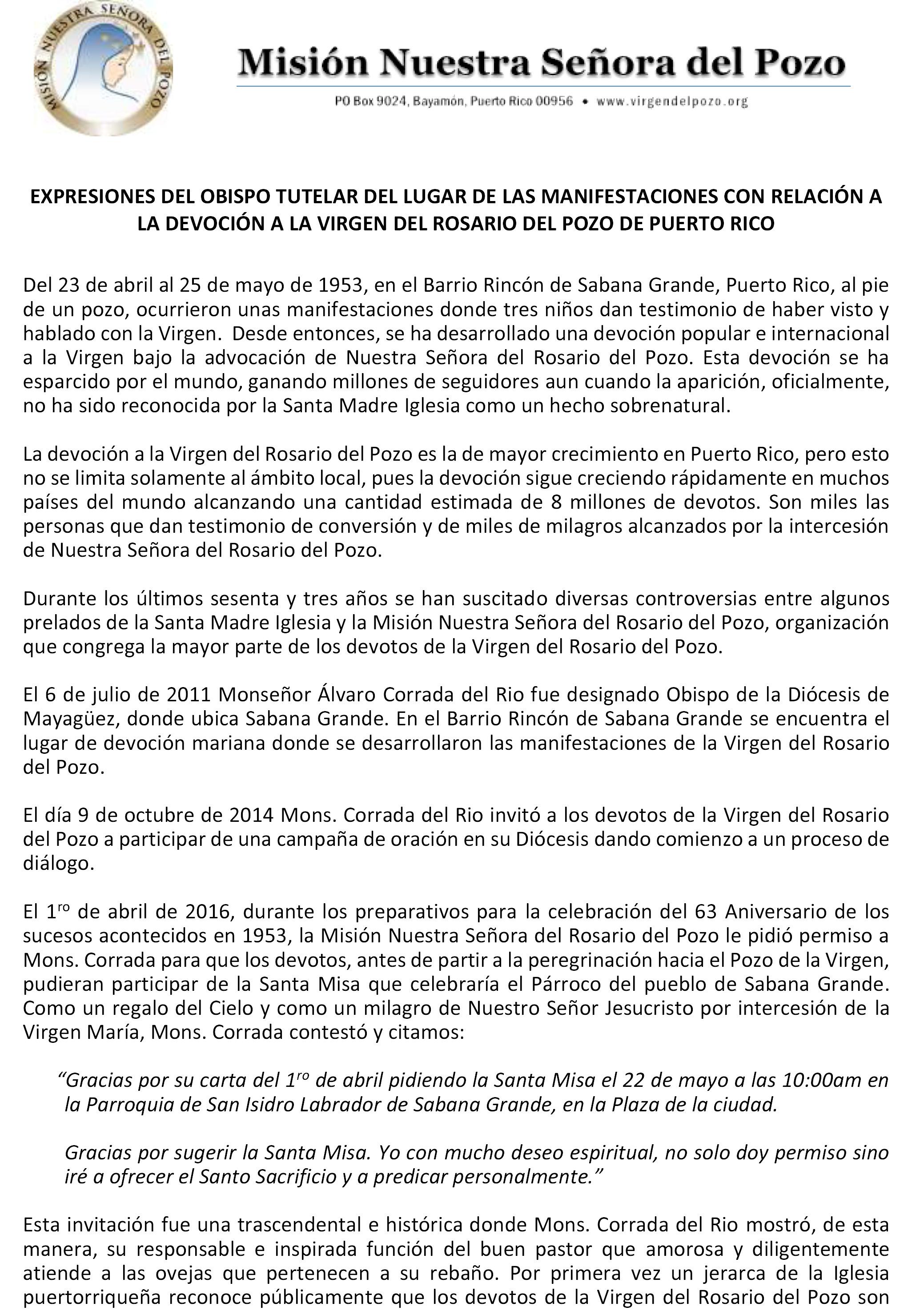 2POSICION ACTUAL OBISPO MAYAGUEZ - CARTA PARA MEDIOS -  7-4-16 final-1